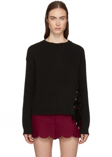 RED Valentino Black Lace-Up Sweater