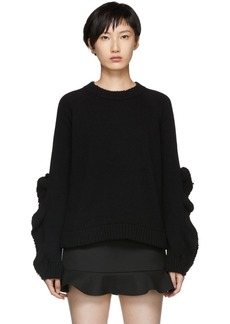 RED Valentino Black Leaf Sleeve Knit Sweater
