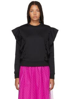RED Valentino Black Panelled Ruffle Sweatshirt