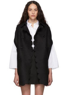 RED Valentino Black Scallop Cape Coat