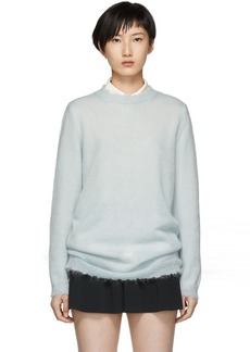 RED Valentino Blue Distressed Mohair Sweater