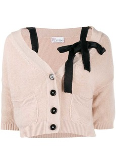 RED Valentino bow-embellished cropped cardigan