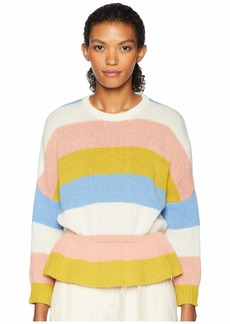 RED Valentino Carded Striped Wool Yarn and Macro Cross Stitch Blossoms Embroidery Sweater