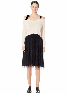 RED Valentino Carded Wool Yarn and Point D'Esprit Dress