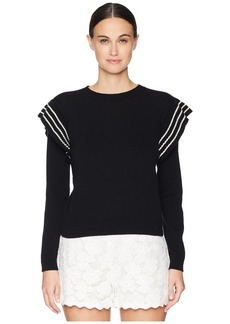 RED Valentino Carded Wool Yarn and Striped Ruffles