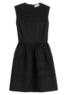 RED Valentino Cotton Dress with Embroidered Eyelet Trim