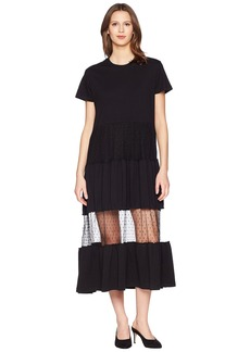 RED Valentino Cotton Jersey and Point D'Esprit T-Shirt Dress