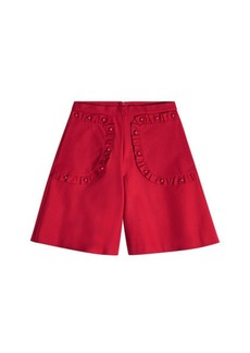 RED Valentino Cotton Shorts with Ruffles