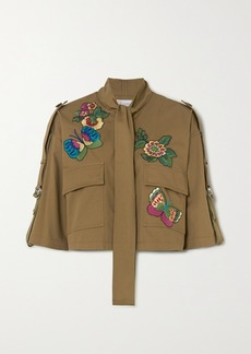 RED Valentino Cropped Pussy-bow Embroidered Cotton-gabardine Jacket