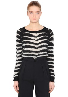 RED Valentino Distressed Intarsia Wool Blend Sweater