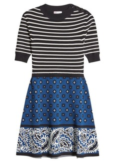 RED Valentino Dress with Knit Top and Print Skirt