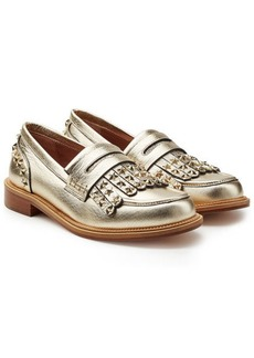 RED Valentino Embellished Leather Loafers