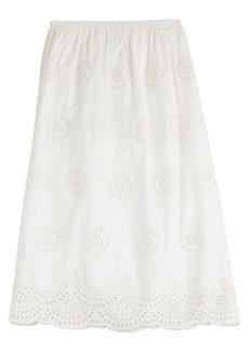 RED Valentino Embroidered Cotton Midi Skirt