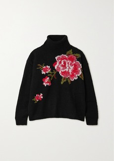 RED Valentino Embroidered Knitted Turtleneck Sweater