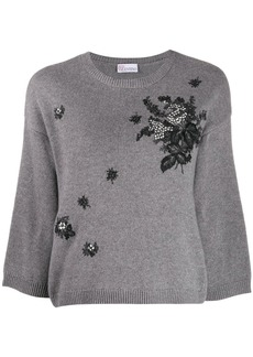 RED Valentino floral embroidery crew neck jumper