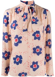 RED Valentino floral pink pussy-bow blouse