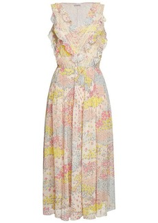 RED Valentino Floral Print Dress with Lace