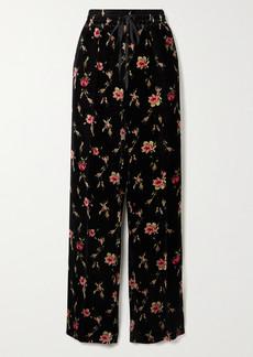 RED Valentino Floral-print Velvet Wide-leg Pants