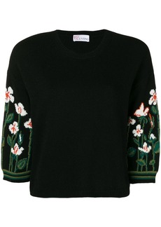 RED Valentino floral three-quarter sleeve sweater