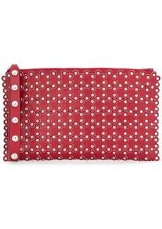 RED Valentino flower applique stud clutch