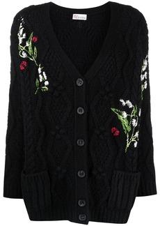 RED Valentino flower-detail intarsia-knit cardigan