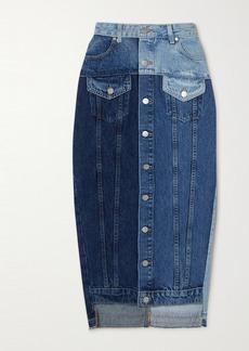 RED Valentino Frayed Patchwork Denim Midi Skirt