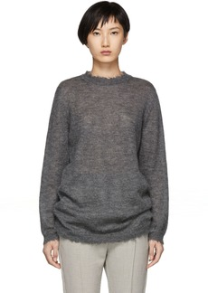 RED Valentino Grey Distressed Mohair Sweater