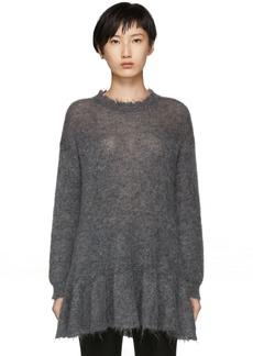 RED Valentino Grey Distressed Peplum Mohair Sweater