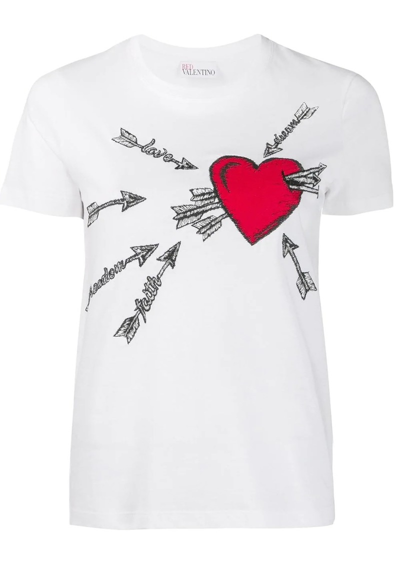 RED Valentino heart embroidered T-shirt