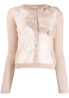 RED Valentino heart motif see-through cardigan