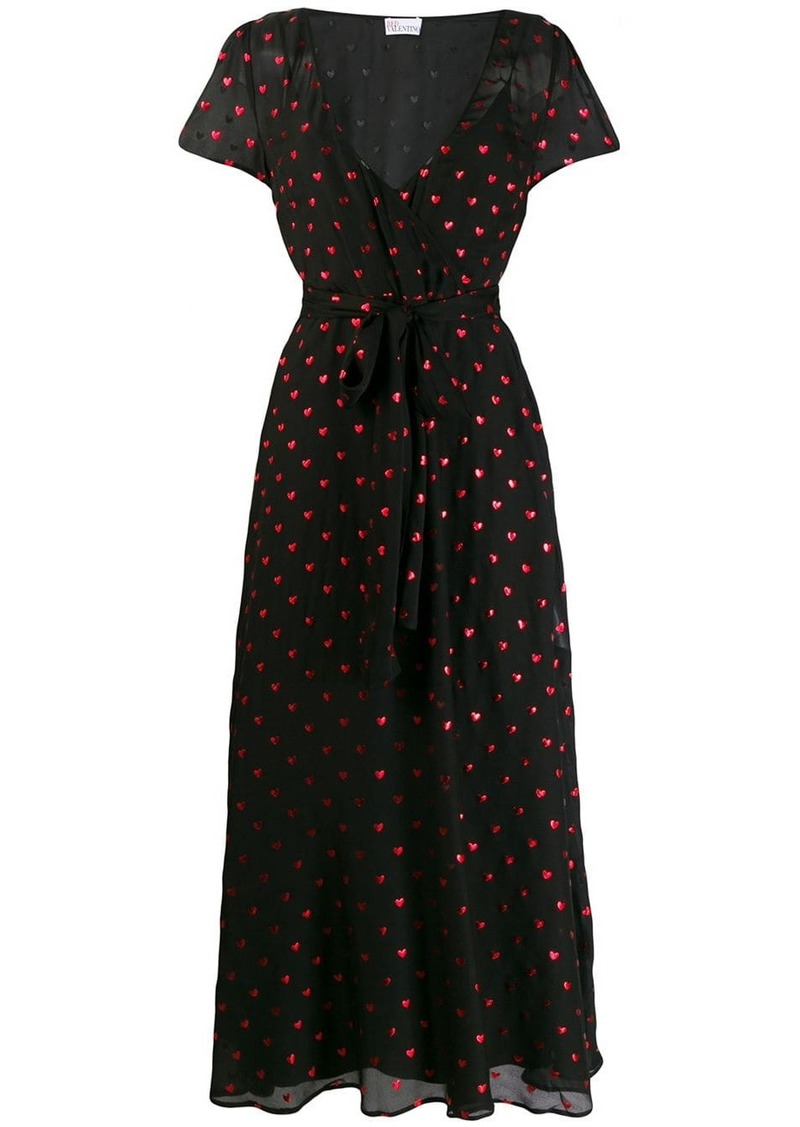 RED Valentino heart print wrap dress