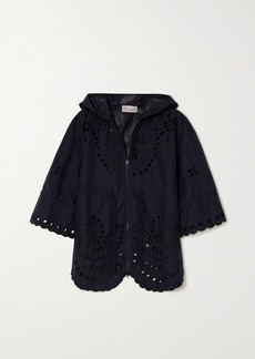 RED Valentino Hooded Broderie Anglaise Shell Jacket
