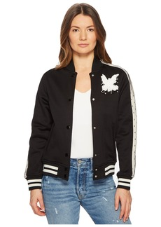 RED Valentino Jersey Bomber with Point D'Esprit Stripe Bird Embroidery