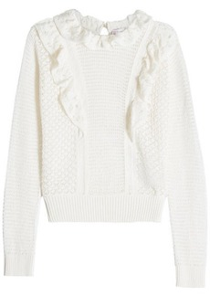 RED Valentino Knitted Cotton Pullover with Ruffle Detail