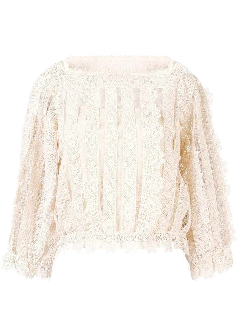 RED Valentino lace and mesh panel blouse