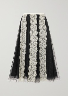 RED Valentino Lace-paneled Point Desprit Tulle Midi Skirt