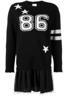 RED Valentino layered knitted logo dress