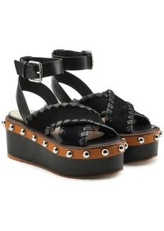 RED Valentino Leather and Suede Platform Sandals