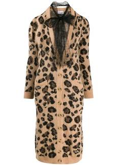 RED Valentino leopard-print long cardigan