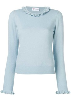 RED Valentino LIGHT BLUE FRILL NECK SWEATER WITH LUREX EDGE