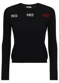 RED Valentino Logo Stretch Wool Blend Knit Sweater