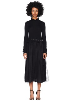 RED Valentino Long Knit Dress w/ Point D'esprit Tulle and Eyelets Detail