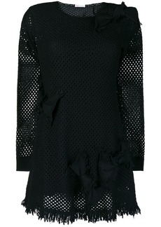 RED Valentino long-sleeve perforated dress