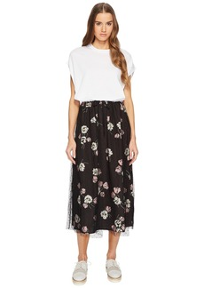 RED Valentino Maxi T-Shirt Dress with Printed Skirt