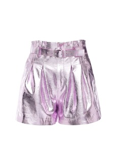 RED Valentino Metallic Leather Shorts