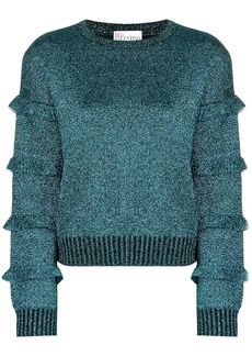 RED Valentino metallic ruffle detail sweater