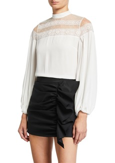 RED Valentino Mock-Neck Tie-Back Lace-Yoke Long-Sleeve Top