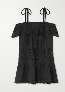 RED Valentino Off-the-shoulder Ruffled Broderie Anglaise Cotton Top