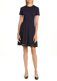 RED Valentino Point d'Esprit Trim Fit & Flare Dress
