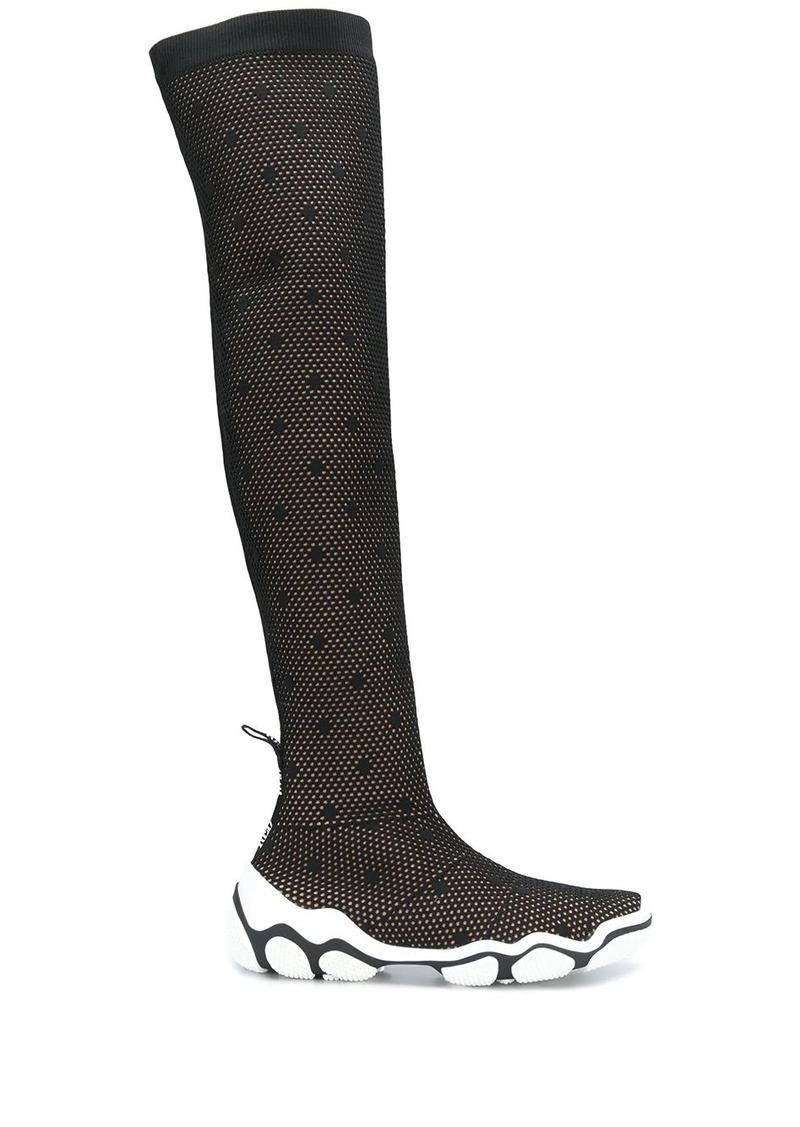 RED Valentino polka dot mesh thigh-high boots